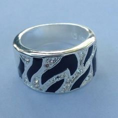 SALE Black & White Ring Has Crystal accents stamped 925. NWOT from wholesaler. PRICE FIRM UNLESS BUNDLED. Jewelry Rings