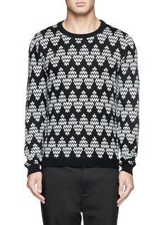 MAURO GRIFONIChevron gauge knit wool sweater Wool Sweaters, Christmas Sweaters, Chevron, Knitwear, Pure Products, Black And White, Knitting, Celebrities, Knits