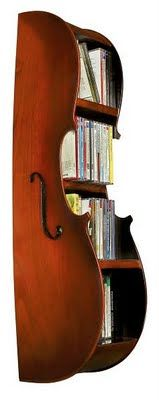 Cello bookcase...maybe we can make this kind of thing with the broken instruments and sell them to buy new ones!