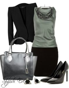 Muted Sage & Black Work Outfit