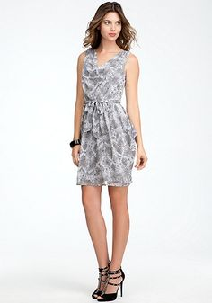 bebe Printed Cowl Neck Dress