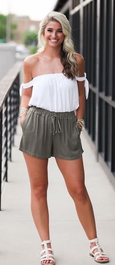 #summer #outfits Seriously Want These Shorts And This Top In Every Color! Love How Casual Yet Cute This Outfit Is, And It's So Comfy For Traveling! I Wore This Down To Georgia On Saturday