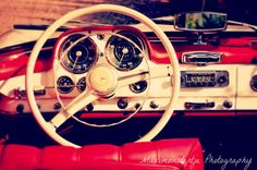 Classic Vintage Car Photo  Red and White by Maximonstertje on Etsy, $30.00