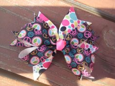 Hair Bow Peace Signs & Polka Dots 5 inch by citylimitsign on Etsy, $4.99