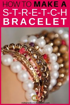 Gather your best beads together and make a bracelet on stretch elastic. The secret to making stretch bracelets is tying a secure knot. This tutorial shows you how to do it so that they don't come undone! Diy Bracelets Elastic, Making Bracelets With Beads, Jewelry Making Beads, Stretch Bracelets, Bracelet Making, Beaded Jewelry, Gold Bracelets, Diamond Earrings, Jewellery Making