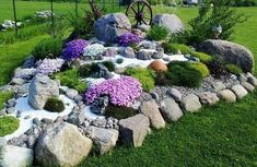 """The alpinarium (second name is «rock garden"""") is a popular element of landscape design; it is made from stone and unpretentious rock plants. The rock garden can Rock Garden Design, Garden Landscape Design, Yard Design, Landscape Edging, Landscape Designs, Rockery Garden, Succulents Garden, Rock Garden Plants, Garden Stones"""