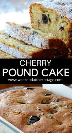 This CHERRY POUND CAKE is a family favourite. It makes a perfect summer snack dessert or serve it for breakfast on the weekend. Take it when visiting friends or going to the cottage. It's sweet moist and delicious! Summer Dessert Recipes, Summer Snacks, Paleo Dessert, Snack Recipes, Brunch Recipes, Holiday Recipes, Fruit Recipes, No Bake Treats, Yummy Treats