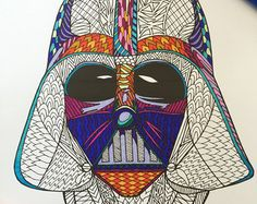 8.5x11 PDF coloring page of a Star Wars Storm Trooper helmet!  Fun for all ages.  Relieve stress, or just relax and have fun using your favorite