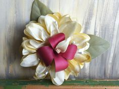 Hairpiece of Ivory Silk Flower with Red & by nickelbugdesigns, $5.75