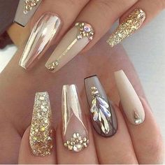 Latest Glitter Acrylic Nail Art Designs Ideas For Long Nails 01 Gold Acrylic Nails, Gold Nails, Acrylic Nail Designs, Nail Art Designs, Nails Design, Nail Designs With Gold, Gold Glitter, Burgundy Nail Designs, Diamond Nails