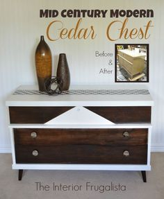 Mid Century Modern Cedar Chest Makeover.  It started as the MCM Cedar Chest from hell but after some TLC and RElove, it turned out beautifully.