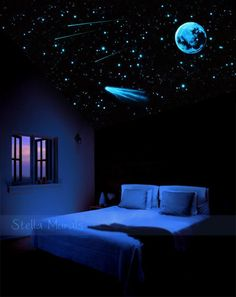 Glow In The Dark Shooting Comet With Stars and moon - Outer-space transparent ce. Glow In The Dark Shooting Comet With Stars and moon - Outer-space transparent ceiling mural poster. Dream Rooms, Dream Bedroom, Bedroom Themes, Bedroom Decor, Space Theme Bedroom, Bedroom Ceiling, Bedroom Lighting, Pool Bedroom, Wall Murals Bedroom