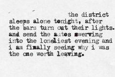 the district sleeps alone tonight - postal service