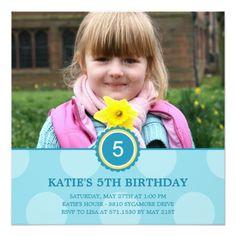 Photo Card Birthday Invitation Charming Dots Photo Birthday Invitation (Blue)