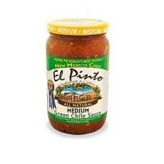 El Pinto Medium Green Chili Sauce (6x16 Oz). Enjoy El Pinto Medium Green Chili Sauce (6x16 Oz). Huevos rancheros, enchiladas, chile con queso, meatloaf and green chile stew are family favorites with El Pinto Medium Green Chile Sauce. Just open the jar, warm and let your imagination run wild. For the flavor of New Mexico it's got to be El Pinto Medium Green Chile Sauce! (Please note information is descriptional only. Please refer ingredients on product prior to use and please consult your...