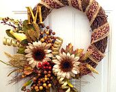 "The ""Dana Carol"" - Fall Whimsy Wreath with Initial. $65.00, via Etsy."