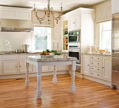 square table for kitchen island http://boydstreetbungalow.wordpress.com/2011/07/12/farmhouse-sink-table-island-two-kitchen-ideas-traditional-home/