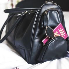 Ready for a weekend away with my ebony black Deep Weekender - so glad of these handy side pockets!