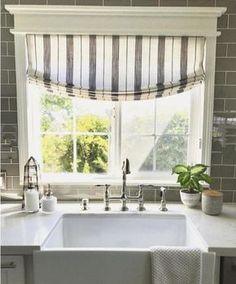 MODERN FARMHOUSe Roman Shades CUSTOM size striped roman shades kitchen window shades black white roman shade stripes ticking window shade