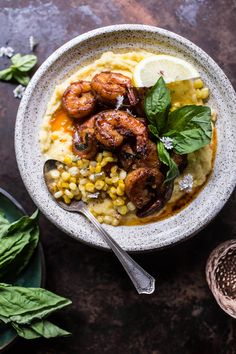 Cajun Garlic Lemon Butter Shrimp with Caramelized Corn Polenta. via @hbharvest