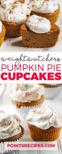 Pumpkin Pie Cupcakes (Weight Watchers SmartPoints) by monica Healthy Thanksgiving Recipes, Thanksgiving Desserts, Thanksgiving Holiday, Christmas, Weight Watcher Dinners, Weight Watchers Desserts, W Watchers, Yummy Treats, Sweet Treats