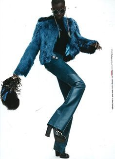 Let's twist in style - soft blue leather and fur for an edgy and impressive look. Hunger UK - Fall '14. #Versace #VersaceEditorials