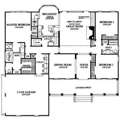 Cape Cod & New England House Plan First Floor Plan 128D-0002 | House Plans and More