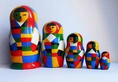 Nesting dolls Malevich   handmade. Russian souvenir matryoshka in the modern style by Artworkshop1 on Etsy