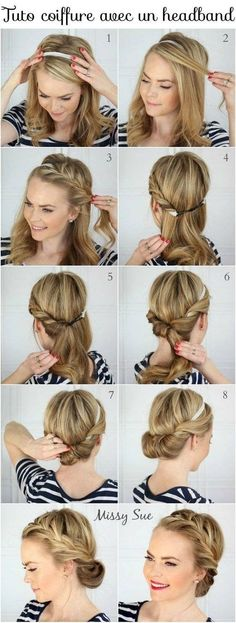 Tuto coiffure facile cheveux courts et longs Tuto hairstyle long and short hair Easy Hairstyles For Long Hair, Summer Hairstyles, Braided Hairstyles, Wedding Hairstyles, Cool Hairstyles, Hairstyle Short, Hairstyles Pictures, Latest Hairstyles, Braided Updo