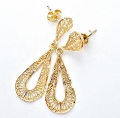 The Jewelry Lady's Store: 14K Gold Filigree Dangle Earrings