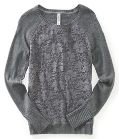 This is a great transition for her! Sweatshirt material so familiar and comfortable, but the lace gives it a feminine, mature twist. I think she would look lovely in grey.  Lace Overlay Raglan Sweatshirt - Aeropostale