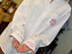 Monogram Bride Shirt Button Down for Wedding Day getting ready, (doesn't mess up hair or makeup when you are ready to change into your dress)