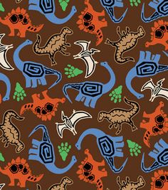Novelty Cotton Fabric- Tossed Dinos Brown & novelty quilt fabric at Joann.com
