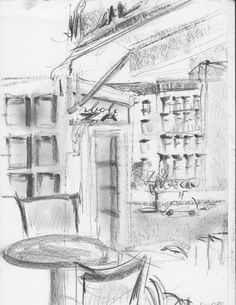 This is a print of my pencil sketch, done looking out the window of Café Rakka in the Village, NYC. Printed carefully on heavy acid free watercolor paper;