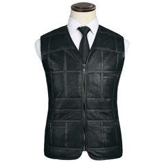 16 haining меха кожа трава жилет мужской кожаный жилет среднего возраста костюм кожаный жилет овец кожи жилет-Таобао