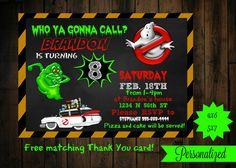 Ghostbusters invitation - printable - ghostbusters birthday invitations - ghostbusters birthday by PurplePalaceDesigns on Etsy