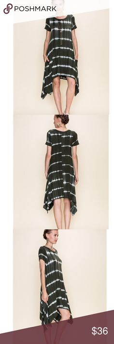 """Olive Tie Dye Print Pocket Dress TIE DYE PRINT ROUND NECK POCKET DRESS Fabric Contents : 96%Rayon 4%spandex. Small Length Front: 36"""" Sides: 43"""" Small Bust: 18"""". In my opinion this runs true to size. Very Flattering and incredibly comfortable. Lots of stretch for a great overall fit. Dresses High Low"""