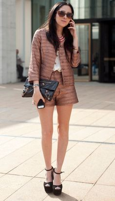 brown outfit paris street style fashion
