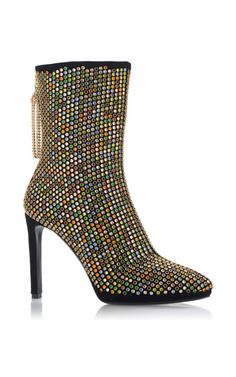 These **Roberto Cavalli** boots stand out with multicolored Swarovski crystal detailing and a gold crystal tassel pull.