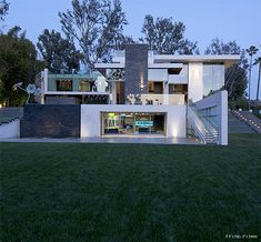 Gorgeous Green Modern Beverly Hills Home With A Bowling Alley That Has An Underground View of The Pool. | http://www.ifitshipitshere.com/gorgeous-green-modern-beverly-hills-home-with-a-bowling-alley-that-has-an-underground-view-of-the-pool/