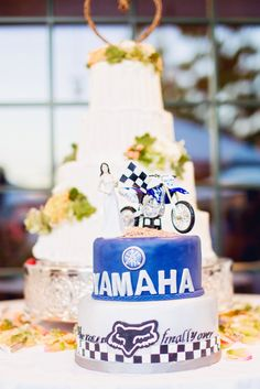 """Grooms cake """"the race is finally over..."""" Dirt bike inspired."""