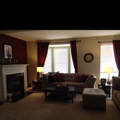 CURTAINS AND RODS Simply Formal Living Room Black And White Picture With Maroon Accent Pillows
