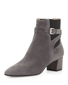 Suede Buckled Stretch-Side Bootie by Gianvito Rossi at Bergdorf Goodman.