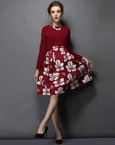 #AdoreWe #VIPme Skater Dresses - OUYALIN Red Floral Pirnted Long Sleeve Skater Midi Dress - AdoreWe.com