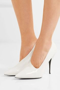 Stella McCartney - Faux Patent-leather Pumps - White - IT35.5