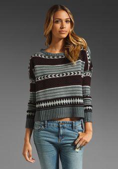 BB DAKOTA Kayla Multi Pattern Oversized Sweater in Burgundy at Revolve Clothing