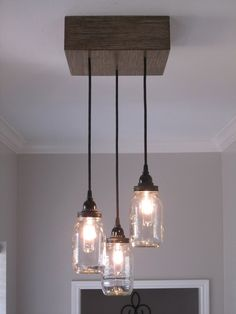 Square 3 Mason Jar Ceiling Light/ Chandelier - Out of the Woodwork Designs