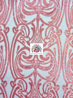 "Coral Angel Damask Sequins Sheer Lace Fabric 54"" Width Sold By The Yard"