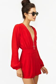 Nasty Gal, fashion, clothes, clothing, dresses, red, Jet Romper - Red