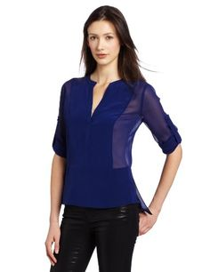 Bcbgmaxazria Women's Liberty Top With Placket And Rolled Sleeve, Orient Blue, Large